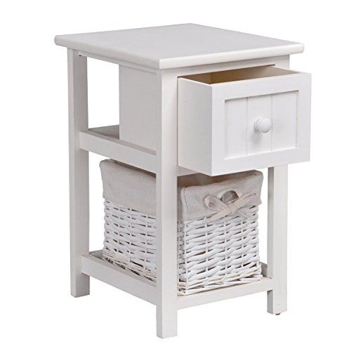 Ihouse Multi-purpose 2-Tier Full Wood Storage EndTable With1 Drawer, Handmade Wicker Storage Basket,White 2 Tier Wicker