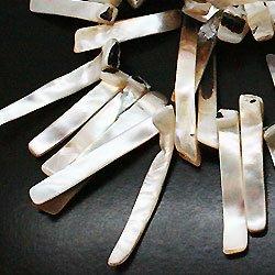 天然石 パワーストーン 卸売/シェル貝 四角プレート状ビーズ 41x7x2ミリ 1連 t179 5本  B07SBKW5CH