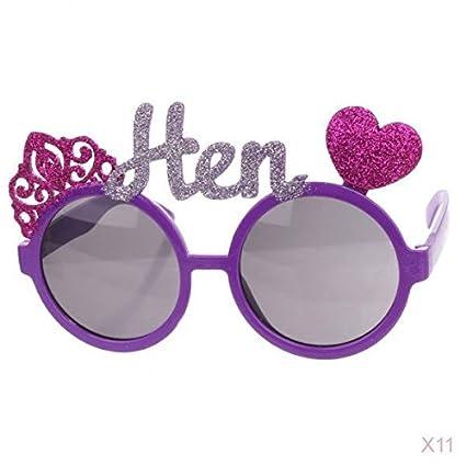 238e2e5db8 Fenteer 11pcs Fashion Funny Heart Crown Wedding Hen Sunglasses Fancy Dress  Bachelorette Hens Stag Party Eyeglasses Props  Amazon.co.uk  Kitchen   Home
