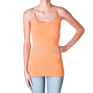 Plain Long Spaghetti Strap Tank Top Camis Basic Camisole Cotton, Neon Coral, Medium