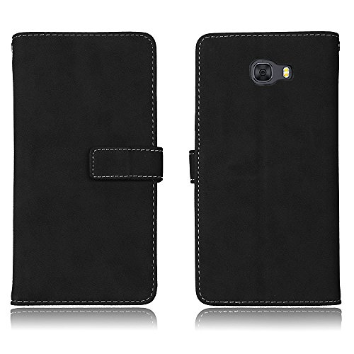 Happon Samsung Galaxy C9 Pro Leather Wallet Case with Skin Samsung Galaxy C9 Pro Flip Cover, Skin, Excellence Case (Black)