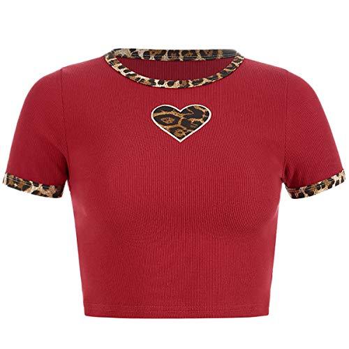 Women Casual Blouse Crop Top Summer Leopard Print Short Sleeve T-Shirt (Red,M)