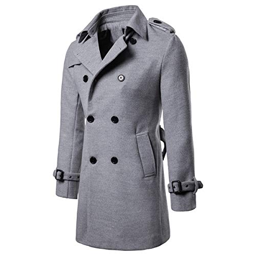AOWOFS Men's Trenchcoat Wool Blend Winter Long Double Breasted Overcoat Slim Fit Warm with Belt