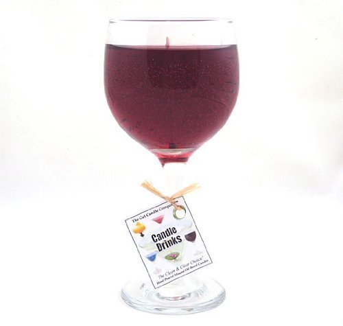 Merlot Scented Wine Gel Candle in Glass 100+ Hours Made In USA - Scented Glass Gel