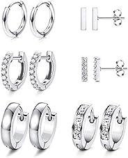 Subiceto 6 Pairs Hoop Huggie Earrings for Women Girls Minimalist Cuff Mini Bar Stud Earrings Gold Silver Cubic