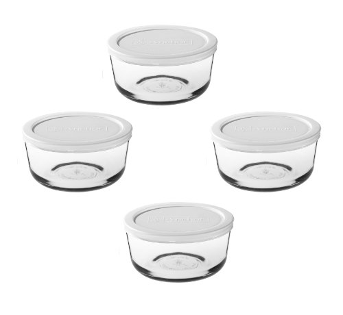 Anchor Hocking 8-Piece 1-Cup Round Food Storage Containers with White Plastic Lid, Set of 4
