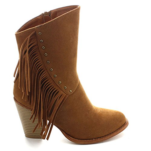 Kimberly Size Fringe Side Heel 7 Calf Color Boots Betani Zip 6 TAN Mid Womens Fashion Stacked dn0g6Y