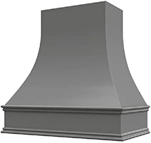 """Wholesale Wood Hoods Curved Style Hood Wooden Chimney Range Wall Mounted for Kitchen with 22"""" Depth - 36""""W × 48""""H - Black"""