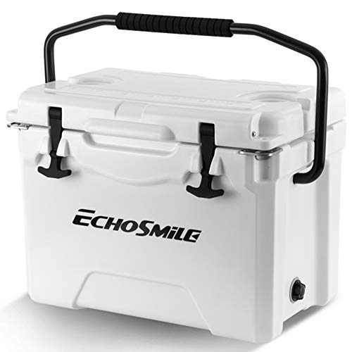 EchoSmile 25QT Rotomolded Cooler, White Ice Chest, Heavy Duty Ice Chest Built-in Bottle Opener, Cup Holder and Fish Ruler for Camping, Fishing, and Other Activities