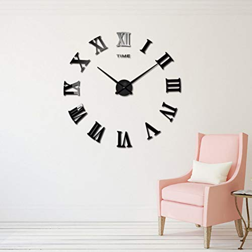 WPFZH ACYKM Roman Mirror 3D Real Big Home Decor Large Quartz Clocks Fashion Watches Fashion Modern Black - Fashion Modern Watch