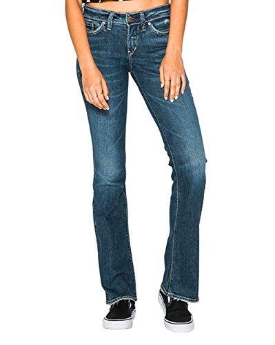 Silver Jeans Co. Women's Suki Curvy Fit Mid Rise Bootcut, Dark Sandblast, 29x33