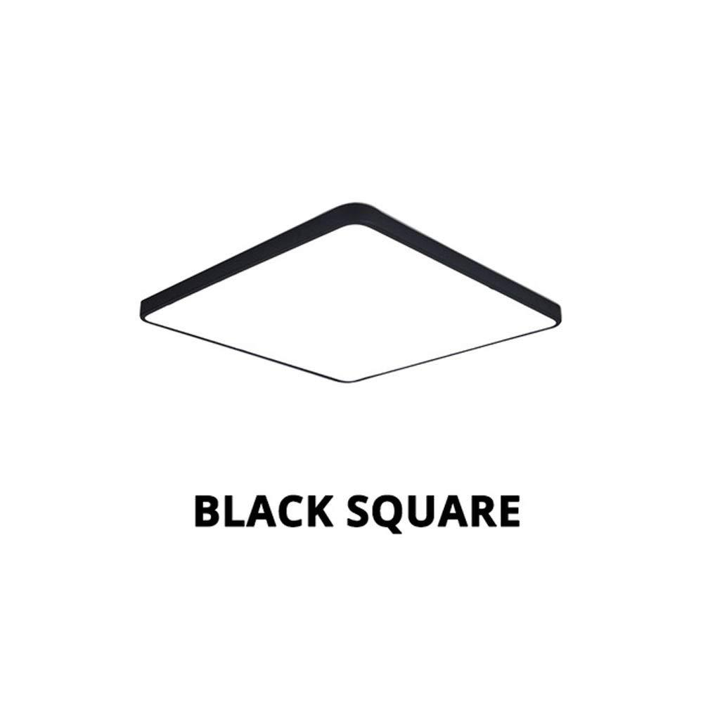 シーリングライト|スクエア埋め込みLEDシーリングライト|超薄型シーリングライト|埋め込み照明[エネルギークラスA ++] yvv (色 : ブラック, サイズ さいず : 60cm*60cm)   B07S9L6N7D