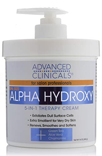 Advanced Clinicals Alpha Hydroxy Acid Cream for face and body. 16oz anti-aging cream with Alpha Hydroxy Acid for wrinkles, fine lines, dry skin. ()
