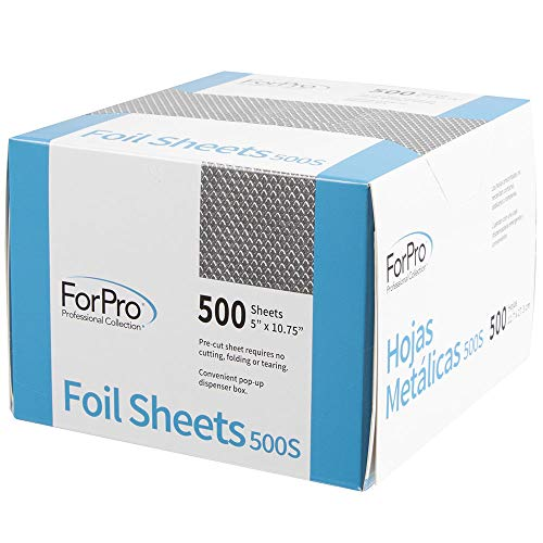 ForPro Embossed Foil Sheets 500S, Aluminum Foil, Pop-Up Dispenser, for Hair Color Application and Highlighting Services, Food Safe, 5