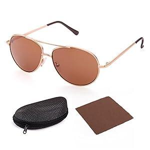 Aviator Sunglasses for Kids Girls Boys Children by LotFancy, Gold Metal Frame, Brown Lens
