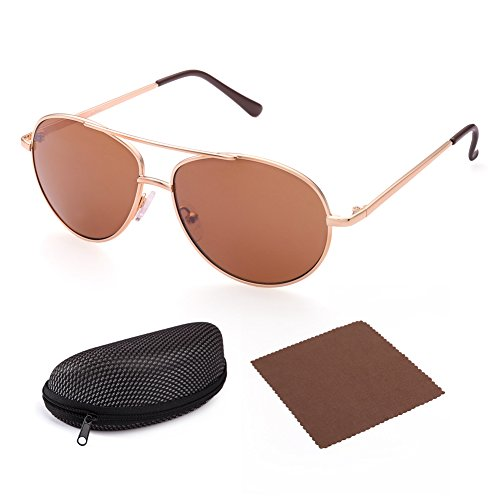 Aviator Sunglasses for Kids Girls Boys Children by LotFancy, Gold Metal Frame, Brown - Sunglasses Of Latest Trends