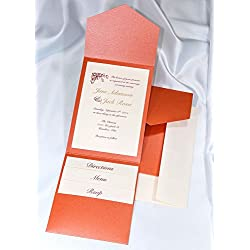 All-in-One Pocket Invitation Kit - Flame Shimmer Elegance - Pack of 20