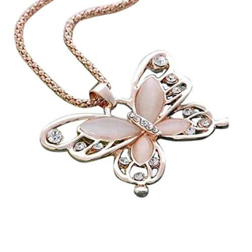 Mothers Day Gift Rose Lovely Butterfly Necklace Jewelry Gold Opal Butterfly Pendant Necklace Women Diamond Fine Chain Jewelry Gift Present for Girls (Gold Chain)