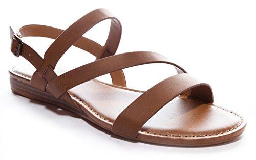 Bamboo Women's Strappy Gladiator Flat Sandal in Tan Size: 6