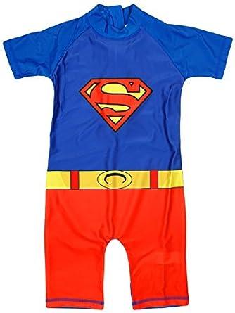 Niño Superman Disfraz Protección del sol Todo en uno Bañador Traje ...