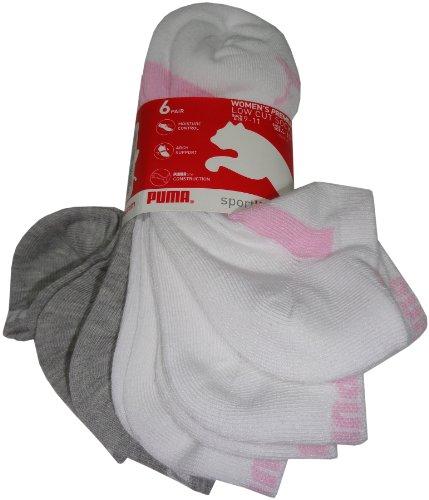 PUMA Mens P100209-115 Low Cut Socks, White/Grey/Pink, 9 by PUMA