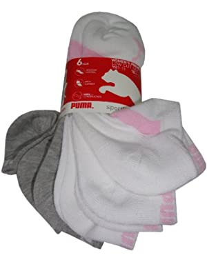 Men's P100209-115 Low Cut Socks, White/Grey/Pink, 9
