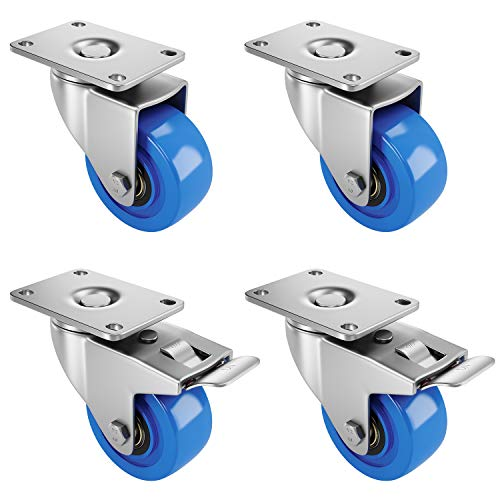 "Femor 3"" Heavy Duty Swivel Caster Wheels, Plate Casters Set of 4 with 2 Brakes for Furniture, Carts, Dolly,Trolley- 240 Lbs Per Caster, Blue"