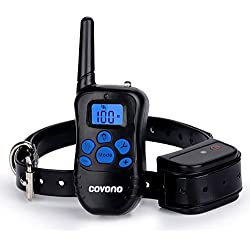 Dog Shock Collar with 330 Yards Remote Control,Covono Waterproof and Rechargeable Electric Training Collar with Beep/Vibration/Shock/Light for Pet (10Lbs-100Lbs),Anti Barking E Collar for 1 Dog
