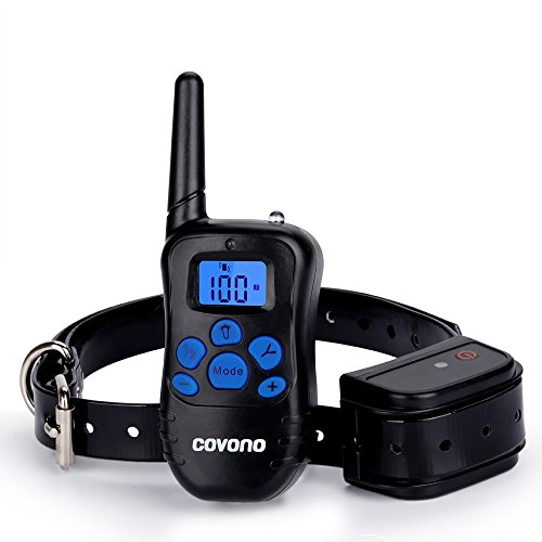 Dog Shock Collar with 330 Yards Remote Control,Covono Waterproof and Rechargeable Electric Training Collar with Beep/Vibration/Shock/Light for Pet (10Lbs-100Lbs),Anti Barking E Collar for 1 Dog by Covono