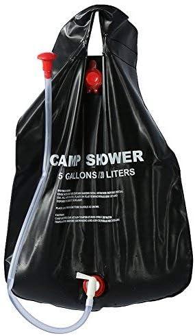 20L / 5 bolsa de ducha portátil con calefacción solar incluye manija Comfort Grip ecológica, manguera extraíble y encendido | Cabezal de ducha ...