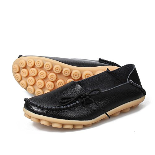 Slip Leather on Moccasin Labato Casual Flats Driving Loafers Women's Black Shoes 0xq8gwqH