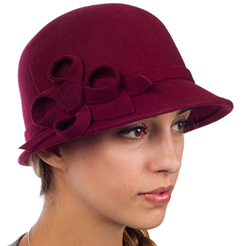 ns Vintage Style 100% Wool Cloche Bucket Winter Hat with Ribbon Flower Accent - Burgandy/One Size (Cloche Style Red Wool Hat)