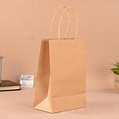 Haga Party Bag Paper Bag with Handles Sweet Color for Halloween Wedding Birthday Party Jewelry Festival Gifts Candy Paper Bags Natural Color 21x15x8cm -