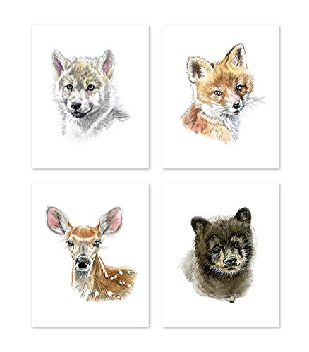 A3 Woodland Nursery Wall Decor - Set of 4 - Watercolor Forest Baby Animals Posters Prints - Woodland Theme Paintings - Baby Boy Girl Kids Home - Deer Bear Fox Wolf Pictures Portraits Wildlife  (8x10)