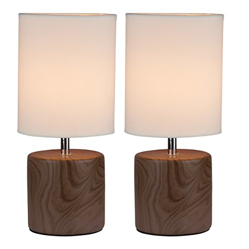 Lightaccents Table Lamps 12230TL-2PK-27 Bedroom Side Table Lamps (Set of 2), Dark Wood Painted (Maple Painted Table)