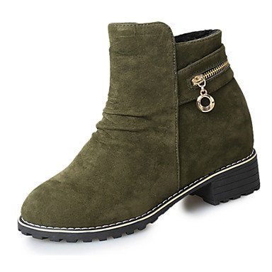 RTRY Women's Shoes Fleece Spring Fall Winter Comfort Combat Boots Boots Chunky Heel Round Toe Rhinestone For Casual Army Green Black US7.5 / EU38 / UK5.5 / CN38