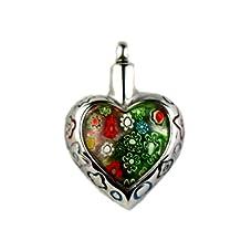 MS Cremation ashes Titanium Pendant Necklace + funnel-Glass Heart ZH89