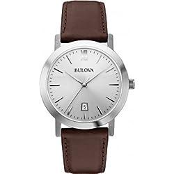 Bulova 96B217 Mens Dress Brown Leather Strap Watch