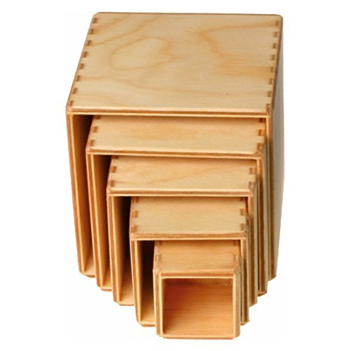 (Grimm's Set of Small Wooden Stacking & Nesting Boxes, Natural)