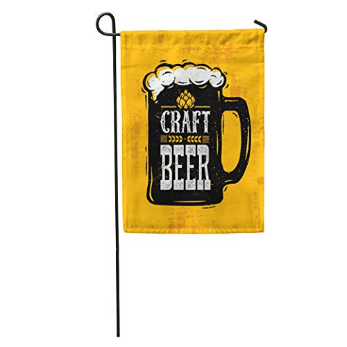 Glass Pub Ale (Semtomn Garden Flag Glass Craft Beer Foam Creative Lettering Composition on Rough Draft Home Yard Decor Barnner Outdoor Stand 28x40 Inches Flag)
