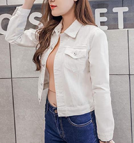 Ritagliate Energia Bianco Denim Casuale Donne Bomber Jeans Lavata Di In Fibbia THg66nqt7w
