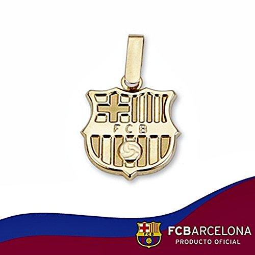 Bouclier pendentif F.C. Barcelona loi 14mm en or 18k. lisse [6506] - Modèle: 10-014-L