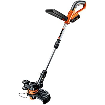 WORX WG156 Li-Ion Cordless Grass Trimmer/Edger with 2 20-volt Batteries and Manual Handle, 10-Inch