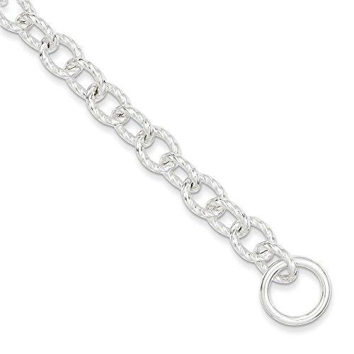Argent Sterling de pouce pouce 8,75 Fancy Bracelet JewelryWeb-bascule