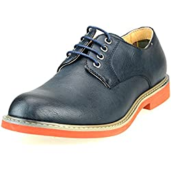 O-NINE Men's Lace-up Derby Shoes, Navy Smooth, 44 EU (US Men's 10.5 M)