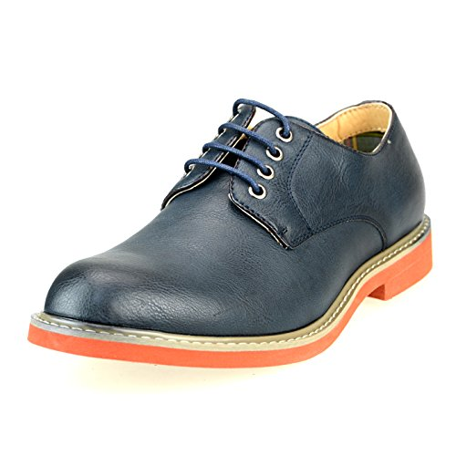 O-NINE Mens Lace-up Derby Shoes Casual Shoes Flat Round Toe Ms1300 Navy Smooth st0RvI1nJ