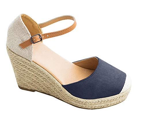Fashare Womens Closed Toe Espadrilles Platform Heel Wedge Shoes Ankle Strap Sandals