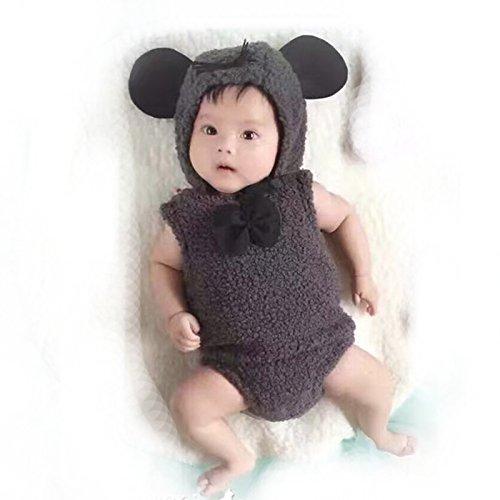 [Cute Newborn Baby Soft Handmade Crochet Knit Bear Style Photograph Props Outfits Hat Conjoined] (Newborn Panda Bear Costume)