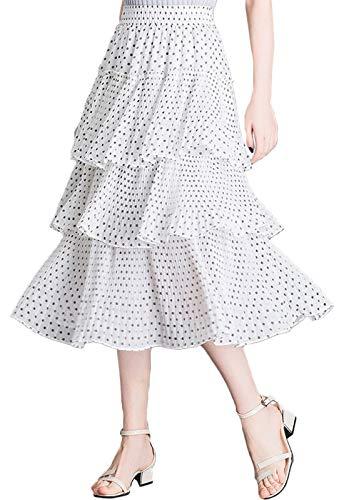 Flygo Women's High Waisted Chiffon Layered Tiered Pleated Midi Long Skirt (X-Small, White-Polka Dot)