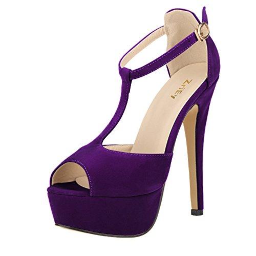 Sexy Peep Toe Platform - ZriEy Women's Sexy Peep Toe High Heel T-Strap Platform Sandals Velvet Purple size10